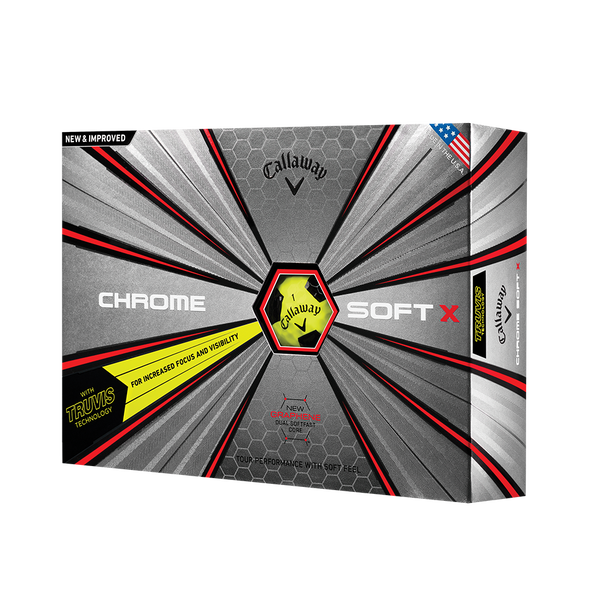 2018 Chrome Soft X Truvis Yellow Golf Balls Technology Item